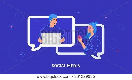 Young Couple Chatting And Texting Together In Social Media Using Laptop And Smartphone. Flat Line Ve