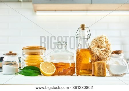 Natural Cleaning Tools: Soap, Vinegar, Salt, Lemon And Sodium Bicarbonate For House Keeping. Health