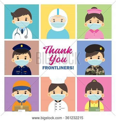 Thank You Frontliners Who Work For Nation During Coronavirus (covid-19) Outbreak Season. Cartoon Doc