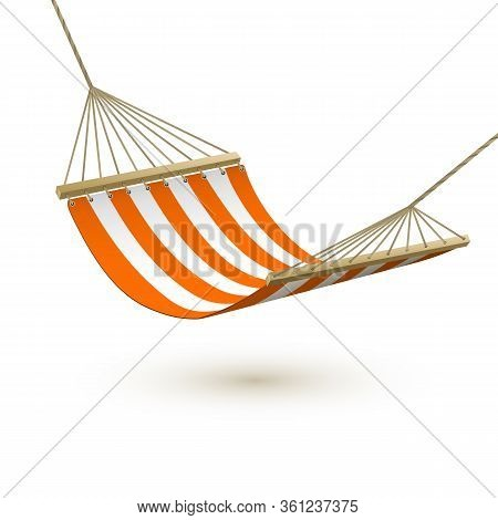 Hammock Template. Red And White Striped Hammock. Camping Or Picnic Relaxation. Tourism Or Vacation C