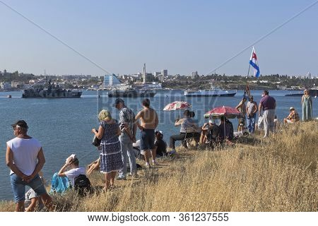 Sevastopol, Crimea, Russia - July 28, 2019: Spectators Of The Parade On Navy Day On The North Side O
