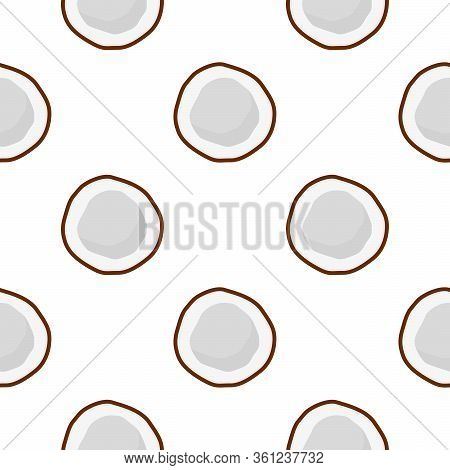 Illustration On Theme Big Colored Seamless Coconut, Bright Fruit Pattern For Seal. Fruit Pattern Con