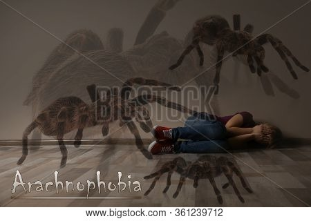 Arachnophobia Concept. Double Exposure Of Scared Little Girl And Spiders