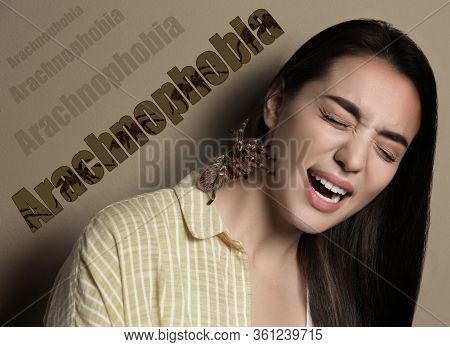 Scared Woman With Tarantula On Beige Background. Arachnophobia (fear Of Spiders)