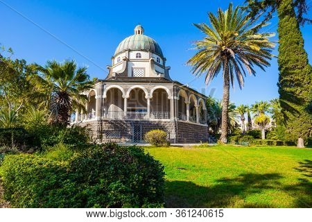 The Mount Bliss on the Sea of Galilee. Catholic Church of the Beatitudes of the Franciscan monastery. Blooming huge park around the monastery. Israel. The concept of religious pilgrimage
