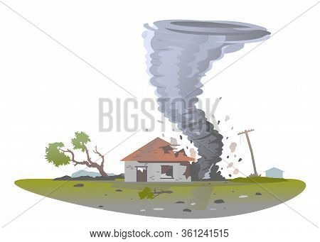Tornado With Spiral Twists Destroy One Small House And Tree, The Power Of Nature Concept Isolated Il