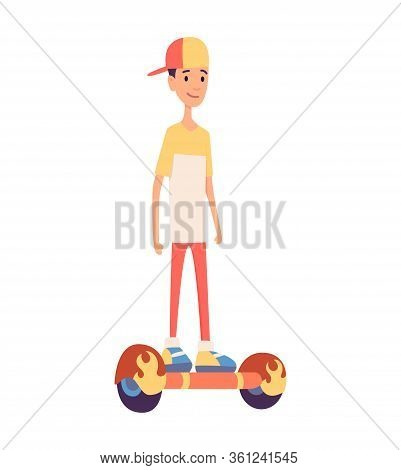 Young Handsome Man Riding An Giroboard, Modern Outdoor Transport, Standing Pose. People Riding Elect