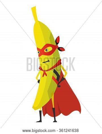 Cartoon Superhero Banana. Fruit In Mask And Cape. Cute Childish Cartoon Character. Funny Cartoon Fru