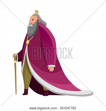 Cartoon King Wearing Crown And Mantle. Old Tall King Walking With Stick. Color Vector Illustration