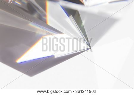 Spectrum From A Transparent Pyramid, Abstract Image. Science, The Study Of Light Refraction. The Dis