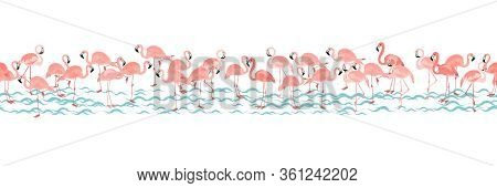 Horizontal Tropical Seamless Pattern With Bright Tropical Bird Pink Flamingo On White Background Wit