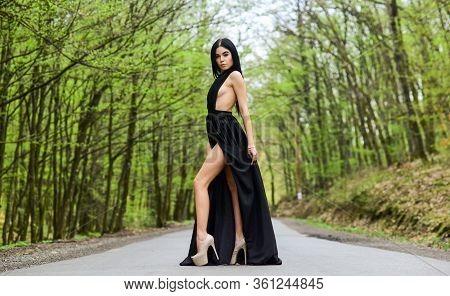 Sexy Girl Elegant Dress High Heels At Road. Escort Concept. Luxury Lifestyle. Sexy Slim Body. Glamor