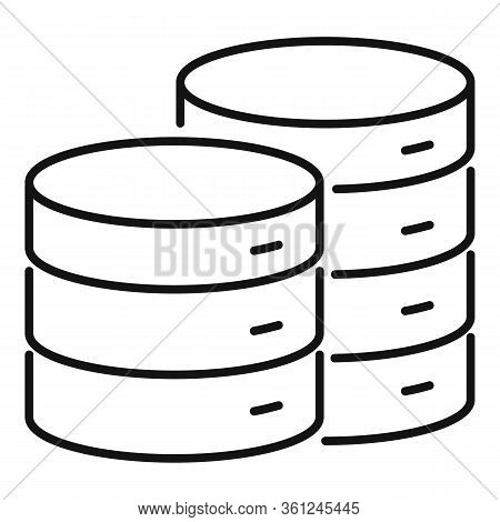 Cloud Server Hosting Icon. Outline Cloud Server Hosting Vector Icon For Web Design Isolated On White