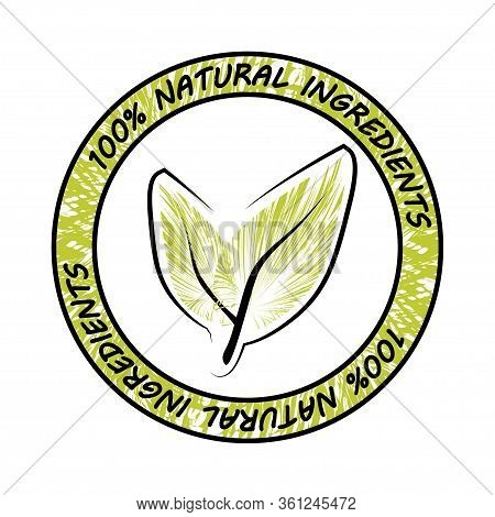 Natural Ingredients. Natural Ingredient Food Label. Natural, Eco, Bio, Food Products Label Stamp. Ve