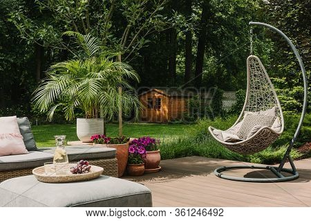 Stylish Garden Decoration With Fancy Egg Chair And Garden Furniture