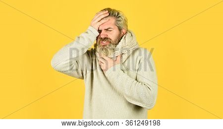 Immune Response. Bearded Man Sick. Cold Flu Concept. Body Temperature. Fever And Thermal Regulation