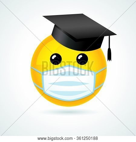 Emoji Smile In Academic Cap & Medical Guard Mouth Mask. Yellow Smiling Emoticon Wearing A White Surg