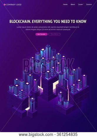 Blockchain Technology In Smartcity Isometric Landing Page. Smart City Community With Data Centers, S