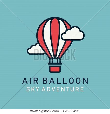 Flat Image Hot Air Balloons Airship. Aerostat Image In Lineart Style