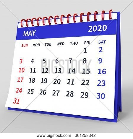 Standing Desk Calendar May 2020. Business Monthly Calendar With Red Spiral Bound, Week Starts On Sun