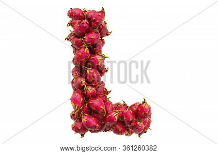 Letter L From Dragon Fruits, 3d Rendering Isolated On  White Background
