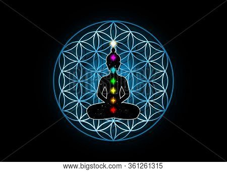 Sacred Geometry, Flower Of Life And Buddha In A Lotus Position With Colorful 7 Chakras. Metatrons Cu