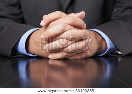 Businessman Hands Clasped