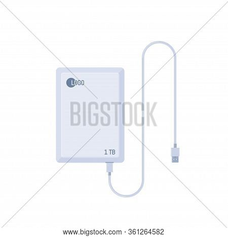 Portable Hard Disk Drive With Usb Cable. External Hdd. Memory Drive Illustration