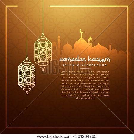 Hanging Ramadan Festival Lamps With Masjid Silhouette Vector Design Illustration