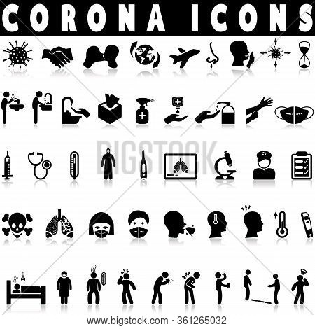 Corona Virus Icons On A White Background With Shadow