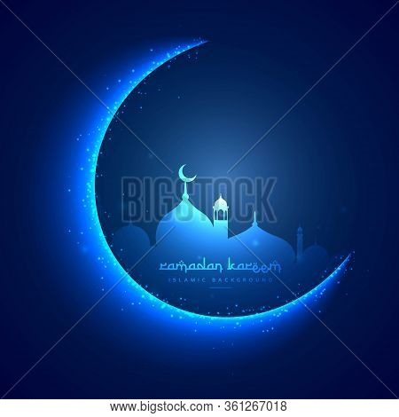 Eid Greeting Card With Moon And Masjid Vector Design Illustration