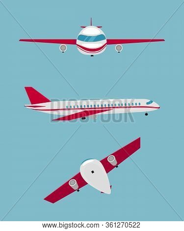 Set Of Airplanes Of Different Colors And Designs. Airplane For Flights. Plane Front Flights In Air.