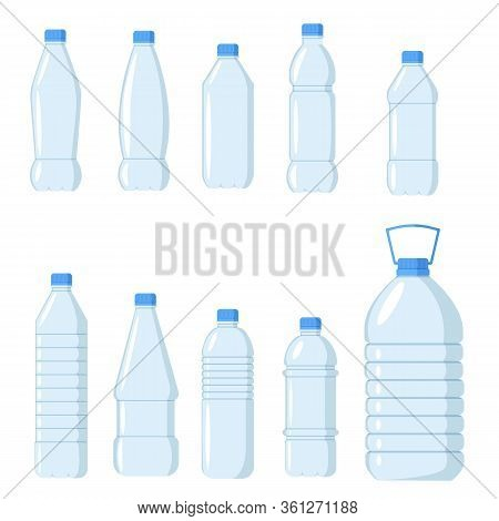 Collection Of Plastic Water Bottles. Healthy Agua Bottles Vector Illustration. Clean Drink In Plasti