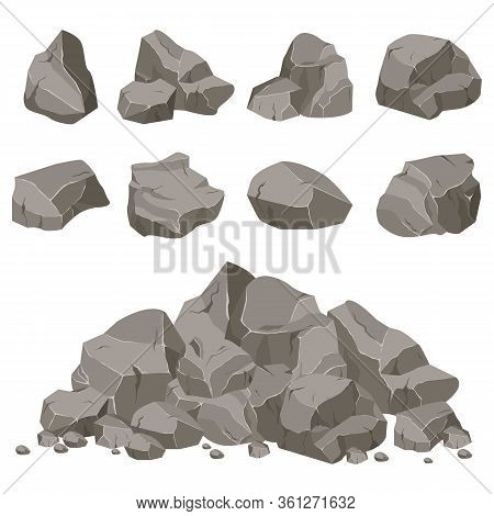Rock Stone Set Cartoon. Stones Of Various Shapes. Rocks And Debris Of The Mountain. A Huge Block Of