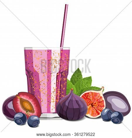 Purple Color Blended Smoothie In A Glass With Ingredients Vector Illustration