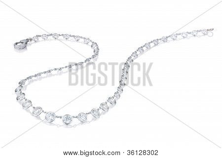 Diamond  Necklace On A White Background