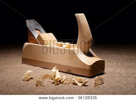 Carpenter Plane With Shavings