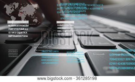 Man Working On Laptop Computer Keyboard With Graphic User Interface Gui Hologram