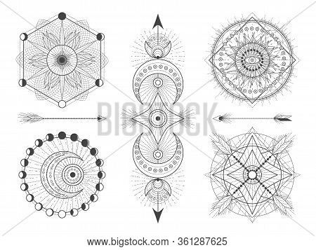 Vector Set Of Sacred Geometric Symbols And Figures On White Background. Abstract Mystic Signs Collec