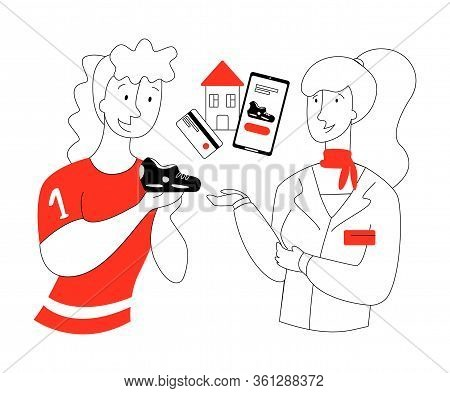 Vector Flat Illustration With Sports Shoe Buyer And Consultant Who Recommends Ordering Shoes At Home