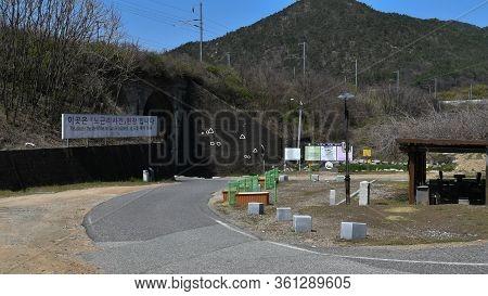 Hwanggan, South Korea; April 14, 2020: Landscape Of Place Of No Gun Ri Incident Where Hundreds Of Ko