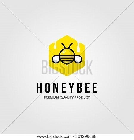 Honeybee Hexagon Logo Village Farm Vector Illustration Design