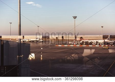 Budapest - February 26, 2019: Airplane Ryanair At The Terminal Gate Ready For Takeoff In The Budapes