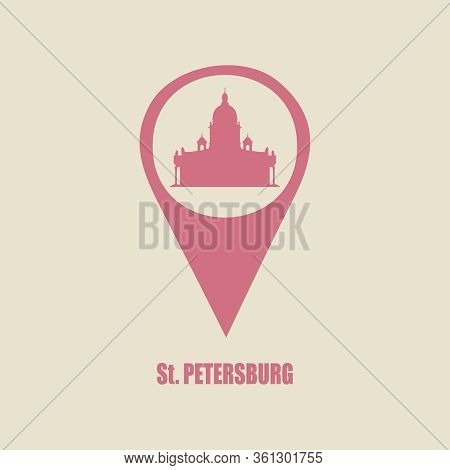 Silhouette Of The Saint Isaac Cathedral In Saint Petersburg Russia. Modern Minimalist Icon In Locati