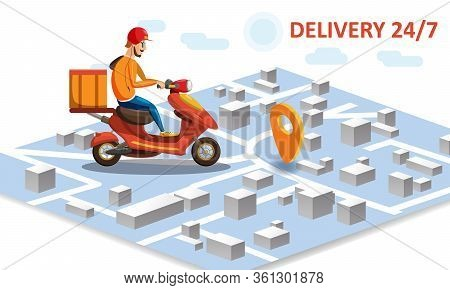 Delivery By Scooter Moped On Mobile Tracking Online, Map Isometric. Online Food Order Service. Landi