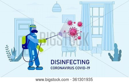 Man Edical Scientist In Chemical Protection Suit Disinfects Spray To Cleaning And Disinfect Virus Co