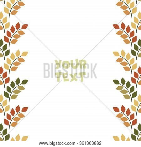 Vector Foliate Borders; Frame With Foliate Twigs For Greeting Cards, Wedding Cards, Invitations, Pos