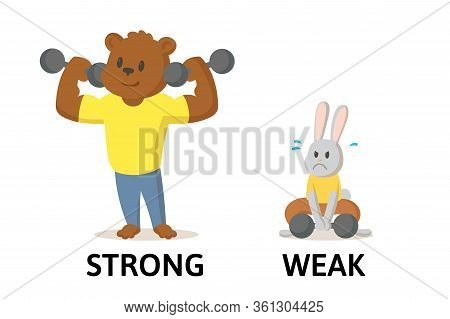 Words Strong And Weak Flashcard With Cartoon Animal Characters. Opposite Adjectives Explanation Card