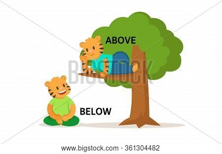 Words Above And Below Flashcard With Cartoon Animal Characters. Opposite Adverb Explanation Card. Fl