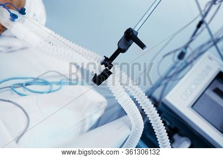 Breathing Circuit Of Patient On Artificial Lung Ventilation As A Fragment Of An Life Support.